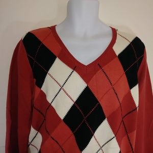 NWT Izod Golf Men's Sweater Argyle Red sz XL